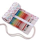 Abaría - Bolsa de lápiz de colores, mediana estuche enrollable 48 lápices, portalápices de lona, organizador para arte, parís 48 agujeros
