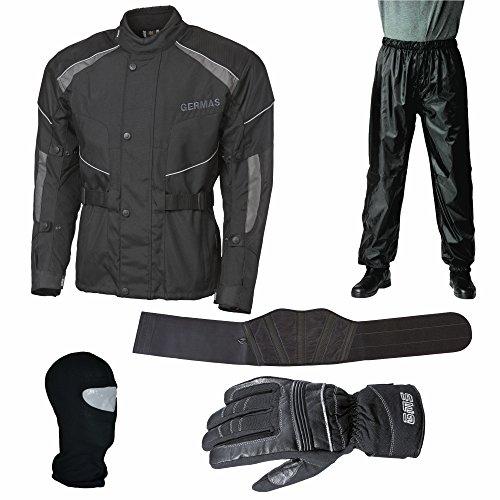 Motorrad- / Roller- Starterset 5tlg. (Jacke, Regenhose, Handschuh, Nierengurt, Sturmhaube) schwarz (XS-3XL) (L)