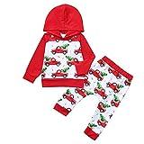 sunnymi 0-4 Jahre Baby Mädchen Weihnachten Kleid Langarm Santa Print Outfits Kleidung
