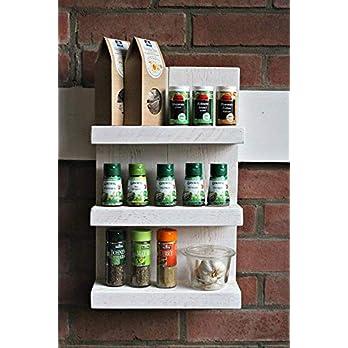 Gewürzregal aus Holz – für die Wand oder stehend – Weiß – 4 Stellflächen – 57 x 50 x 12 cm – Massivholz