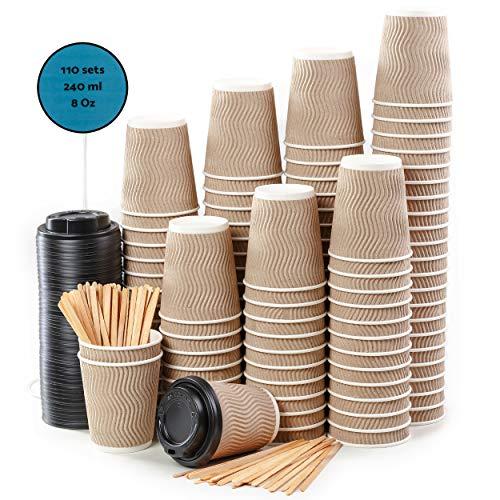 ppbecher Coffee to Go 240 ml 8 oz mit Deckel und Holz Rührstäbchen Zum Servieren von Kaffee, Tee, Heißen und Kalten Getränken ()