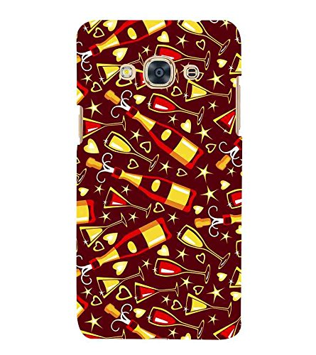 For Samsung Galaxy J3 Pro 2016 wine bottle ( wine bottle, bottle, heart, star, brown background ) Printed Designer Back Case Cover By FashionCops  available at amazon for Rs.475