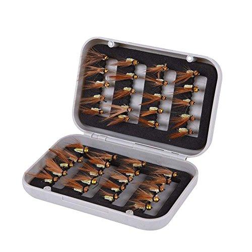 Angeln Koeder - SODIAL(R)40 * Dry Fly fliegen Haken lebensechte Feder Koeder Forelle Lachs Angeln Koeder Set mit Box