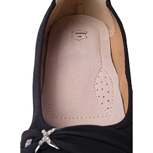 Ballerine In Pelle Nera Over-size Donna 41 42 43 44 Sottopiede In Pelle E Fibbia Color Argento Strass-nero