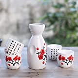 5 Piece Japanese Sake Cup Set Hand Painted Porcelain Pottery Ceramic Crafts Wine Cups (4#)