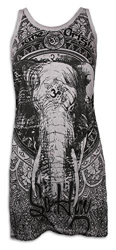 SURE Damen Träger-Kleid Ganesha OM Symbol Größe S M L Elefanten-Gott Indien Hinduismus Religion Goa (Hellgrau S)