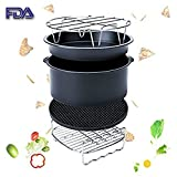 Hot Air Fryer Accessories Kit for All Air Fryer(3.2QT Up)-Philips/Tower/Princess/Duronic/Gowise,1 set of 5, Cake Barrel /Pizza Pan/ Metal Holder / Skewer Rack/ Silicone Mat