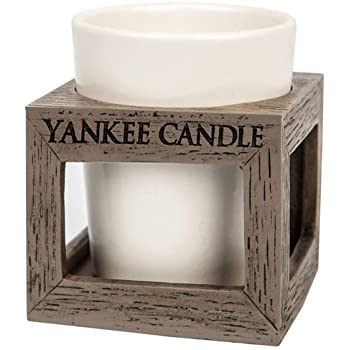 Yankee Candle Rustic Modern Wood Effect Plastic Votive Surround & Ceramic Holder for Samplers/Tea Lights Small 7.5cm Contemporary Decorative Candle Container for Indoor/Outdoor Grey/White