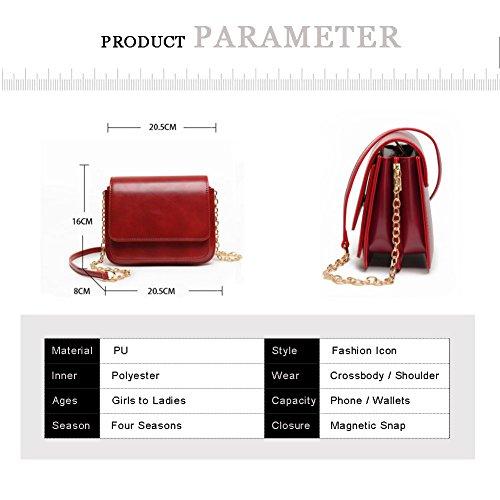 Yoome Retro Flap Bag Elegante Zaino Zigzag Catene Pieghevoli Grande Borse Per Le Donne - Rosso Nero