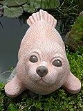 Steinfigur Seehund groß Terrakotta, Deko Figur Teich Garten Stein frostsicher