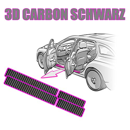 Touran 1T-T2-GP-1T3-GP2 Einstiegsleisten Set - Lackschutzfolie von CCW© in 3D Carbon Schwarz