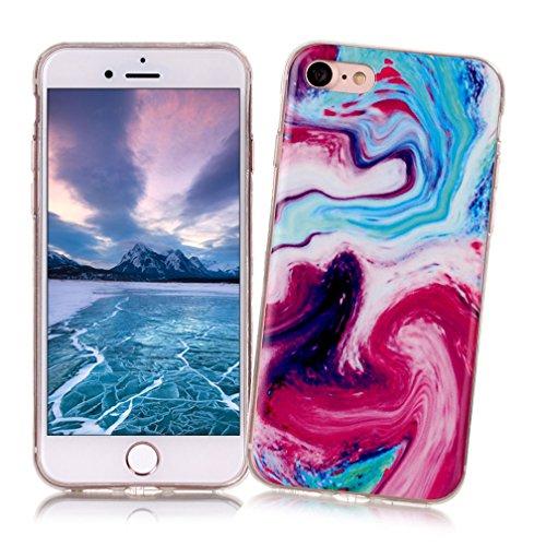 Xiaoximi iPhone 7 Hülle Marmor Textur Hülle TPU Silikon Gel Schutzhülle Weiche Flexible Schutzhülle Soft Slim Case Cover Ultra Dünne Schlanke Leichte Etui Mode Anti-Kratz Handyhülle-Hellrosa Mehrfarbig