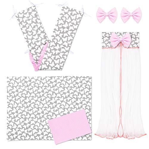 Amilian®  Baby Bettwäsche 5tlg Bettset mit Nestchen Kinderbettwäsche Himmel 100x135cm Schmetterling grau/Pünktchen Puderrosa Chiffonhimmel
