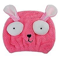 OFKPO Fast Drying Hair Wrap Hat Cute Cartoon Rabbit Hair Drying Towel for Kids Girls Bathing Spa Swimming Turban Hat (Pink)