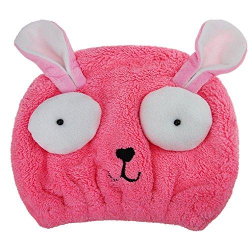 OFKPO Mikrofaser Absorbent Handtuch Kappe,Kinder Handtuch Turban/Schnell Trocken Haar Handtuch Badekappe(Rosa)