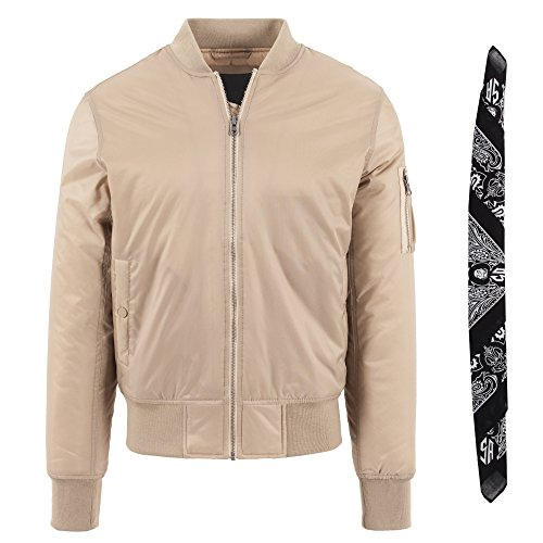 Aggressive Mind MA1 Bomber Flight Jacket Beige M + Gratis Joker Bandana