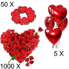 Idea Regalo - Kit Romantico di Candele e Petali. 50 Candeline a Forma di Cuore + 1000 Petali di Rosa di Seta + 5 Palloncini a Cuore Rossi - Decorazioni per Matrimonio, San Valentino e Fidanzamento
