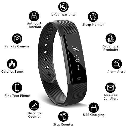 Muzili 115 Activity Tracker Sleep Monitor, Fitness Band Pedometer Calorie Counter Smart Bracelet for iPhone and Android Phone