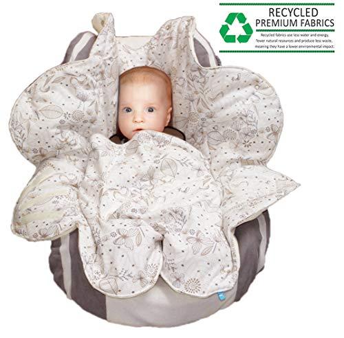 Legen Kapuze (Wallaboo Einschlagdecke Leaf für Babyschale, Autokindersitz, für Kinderwagen, Buggy, Babybett, Schönen Blumenform, Veloursleder und Baumwolle, 85 x 85 cm, 0 - 12 Monaten, Farbe: Ecru)
