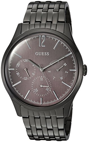 Guess Men's Stainless Steel Casual Watch with Day, Date & 24 hr Int'l Time Display, Color: Black (Model: U0995G4)