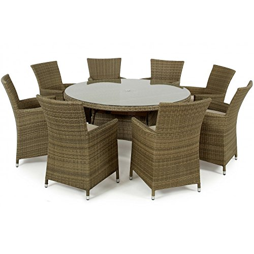 sienne rattan garden furniture 8 seat round table set. Black Bedroom Furniture Sets. Home Design Ideas