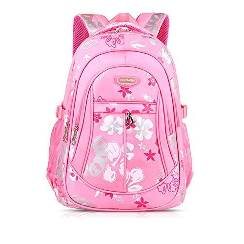 YAAGLE Schultasche Mädchen sport Schulrucksack praktisch kinderrucksack süß Blumen Schule Tasche aus Nylon mehrfarbig lässig Daypack pink(klein)