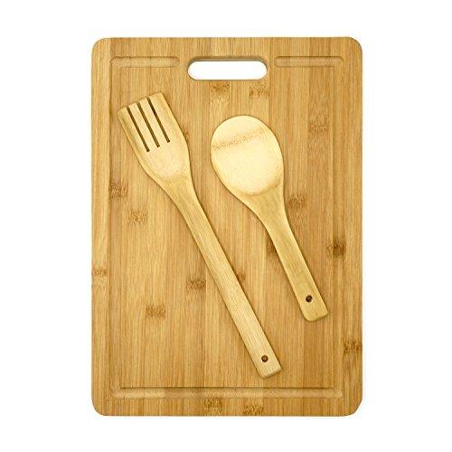 Tagliere in bambù set by arc: coltello food controsoffitto tagliere con manico per un facile trasporto, protegge da graffi e danni, antibatterico per cucinare, igienici con bambù spoonand forcella