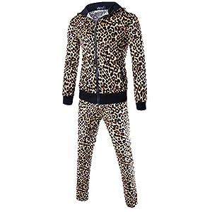 Oasics Herren Leopard Print Set Herbst Patchwork Sweatshirt Top Hose Set Sport Set M-2XL