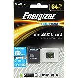 Energizer High Tech Carte mémoire microSD Class 10 64 Go avec Adaptateur