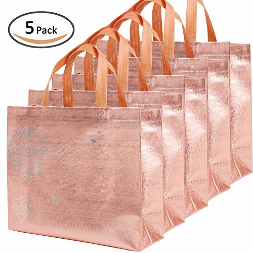 Pink : Rumcent Bling Bling Glossy Durable Reusable Medium Non-woven Gift Bag Set Of 5,Shopping Bag,Promotional...