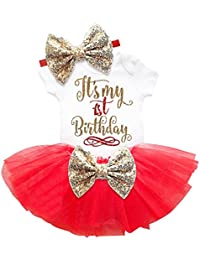 THE LONDON STORE Baby Girl's Multi-Color First Birthday Cotton Dresses