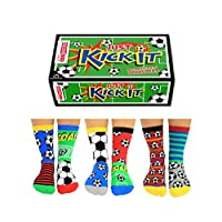 United Oddsocks - Box 6 Oddsocks For Boys Kick It, Multicoloured, UK 12-6, EUR 30.5-39, US 13.5-7