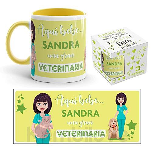Kembilove Taza de Café de la Mejor Veterinaria del Mundo Personalizada con el Nombre - Taza de Desayuno para la Oficina - Taza de Café y Té para Profesionales - Taza de Cerámica para Veterinarias