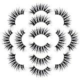fasloyu 7 Paar Lotusblumen Mit 3D Nerz Falschen Wimpern, Natürliche Dichte Wimpern Luxuriöse Flauschige Streifen Wimpern Lange Natürliche Party, Natürlicher Look Künstliche Wimpern (F)