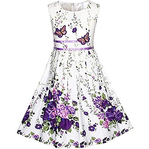 zhenlanshangmao Mädchen Kleid lila Rose Doppel Fliege Partei Kinder Strandkleid niedlich Blumenkleid für 4-12 Jahre altes Baby (6T, ()