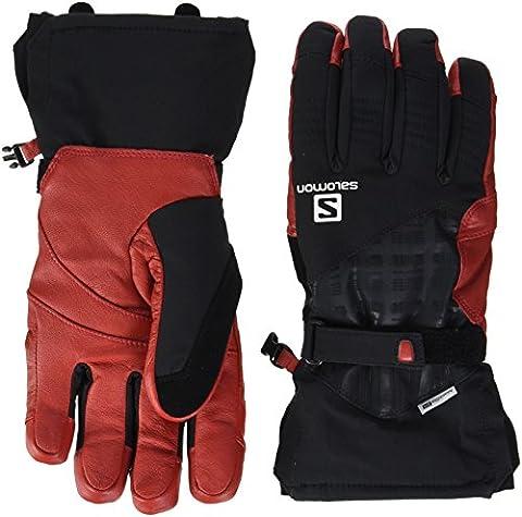 Salomon L37599900, Gants de Ski Imperméables pour Homme, Adaptés aux Écrans Tactiles, Paume en Cuir, Propeller Dry M, Taille: XXL, Noir/Rouge (Black/Matador-X)