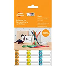 Avery Zweckform 62039 Living Etiketten zur Kennzeichnung von Stiften (3 Motive, 31 x 6 mm) 96 Stück weiß