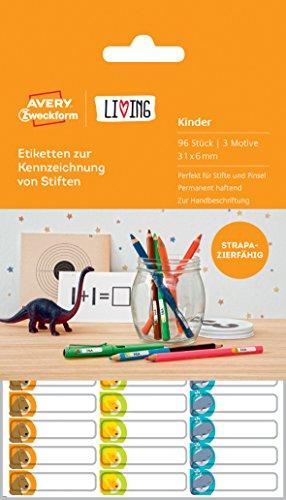 Preisvergleich Produktbild Avery Zweckform 62039 Living Etiketten zur Kennzeichnung von Stiften (3 Motive, 31 x 6 mm) 96 Stück weiß