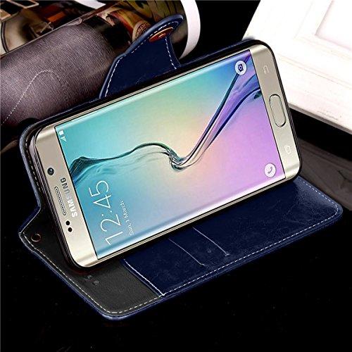 Galaxy S6 Edge Custodia, Custodia Samsung Galaxy S6 Edge G925, Samsung Galaxy S6 Edge Custodia Portafoglio Pelle, JAWSEU [Shock-Absorption] Lusso 3D Goffratura Fiore Farfalla Wallet Leather Flip Cover Puro Blu