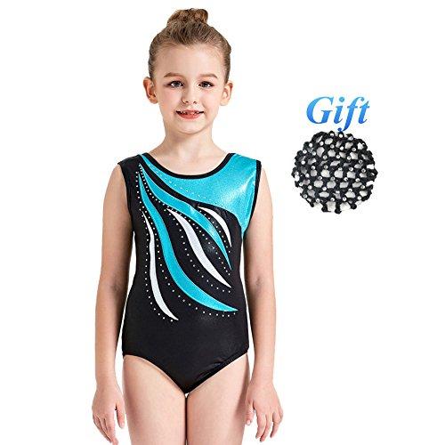 Kostüm Akrobatik - Hougood Turnanzug für Mädchen Ballett Tanz Bodysuit Streifen Diamant Ballett Leotards Ärmellose Tanzkleidung Gymnastik Tanz Kostüme Alter 3-14 Jahre alt