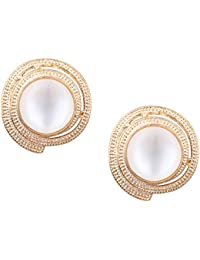 Valentine Gift_Om Jewells Rose Gold Plated Captivating Crystal Jewellery Stud Earrings For Girls And Women ER1000068