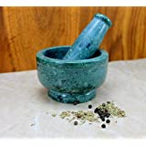 [Sponsored]GREENTOUCH CRAFTS Handmade Natural Stone Mortar And Pestle Set, Green - Indian Kitchen Utensils - 4 Inch Durable & Easy To Use