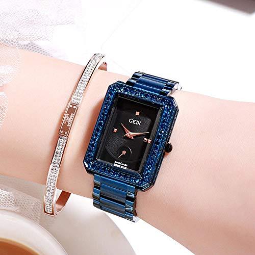 Damenuhren Exquisite Einfache Damen Stahlbanduhr Klassische Joker Square Uhr Damenmode Lässig Blau Shell Schwarz Platte Blue Square Platte