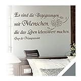 Exklusivpro Wandtattoo Wand-Spruch Begegnungen mit Menschen… mit SWAROVSKI (zit38 grau) 140cm
