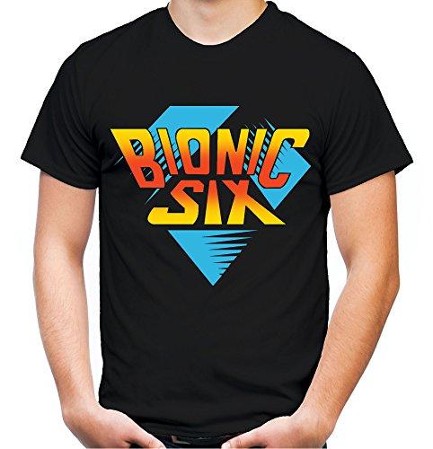 Bionic Six Männer und Herren T-Shirt   Die Sechs Millionen Dollar Familie     (L, Schwarz)