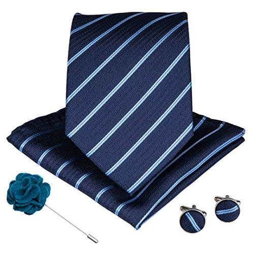 15 Styles Blue Teal Herren Krawatte Manschettenknöpfe Brosche Set Seide Männer Krawatte 8 Cm Breite Krawatten Ldnx0079