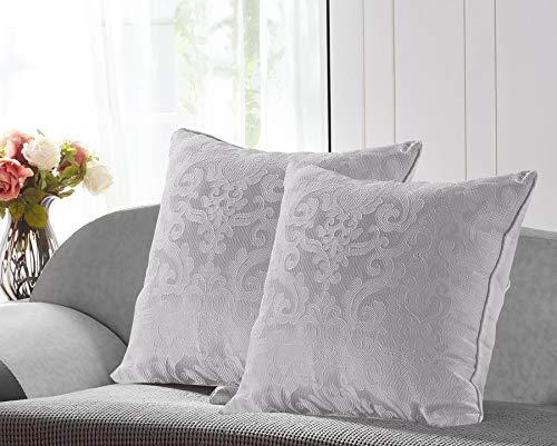 PimpamTex Pack de 2 taies de coussin avec rembourrage de 55 x 55 cm, décoration pour la maison, tissu Jacquard/Damas 55_x_55_cm Gris perle