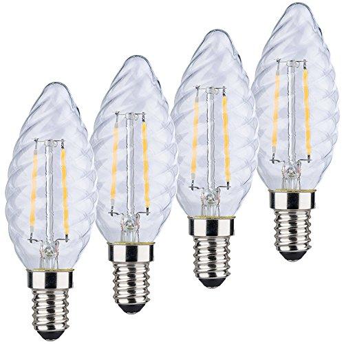MÜLLER-LICHT 400189 A++, Retro-LED Lampe Kerzenform, ersetzt, Glas, 2W, E14, Weiß, 4 Stück, 3.5 x 3.5 x 9.8 cm