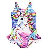 Traje de Baño Niña Unicornio Arcoiris Bañador de una Pieza para Niñas Bañador de Natación,Vacaciones, Playa
