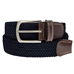 Braided Belt Silver Nickel Finish Buckle Faux Leather Elastic Woven Stretch Mens Womens Dress